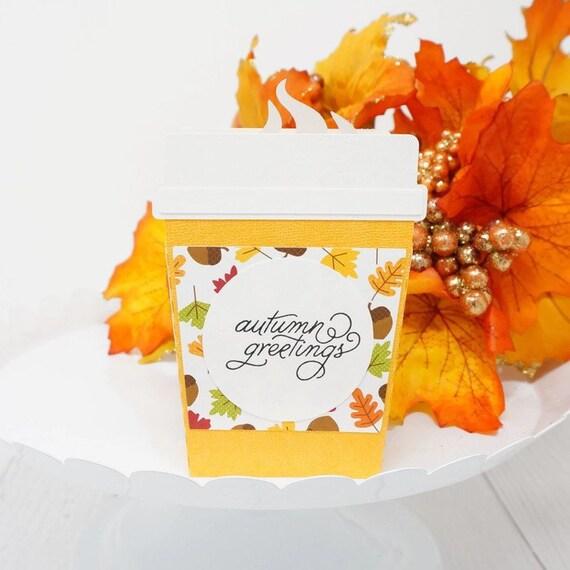 3D Fall Birthday Card Cute Autumn Greetings Coffee Cup