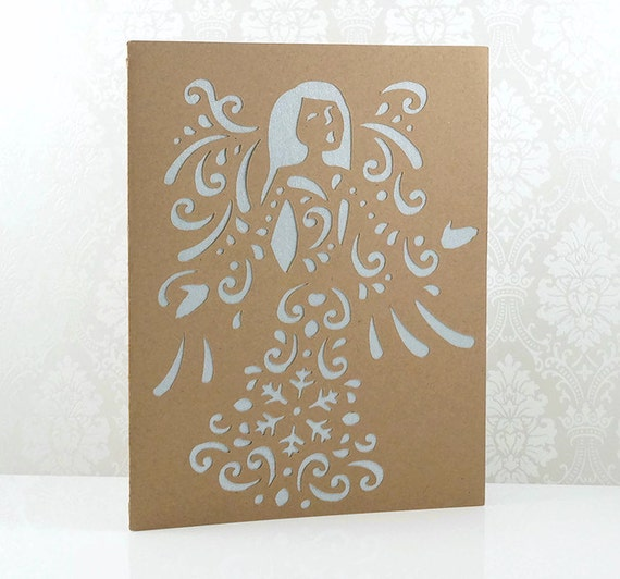 Christmas Cards Holiday Angel Singing Die Cut