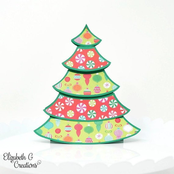 Pop Up Christmas Tree.Ornament And Candy Christmas Tree Handmade 3d Pop Up Christmas Greeting Card Holiday Card Greeting Cards Handmade