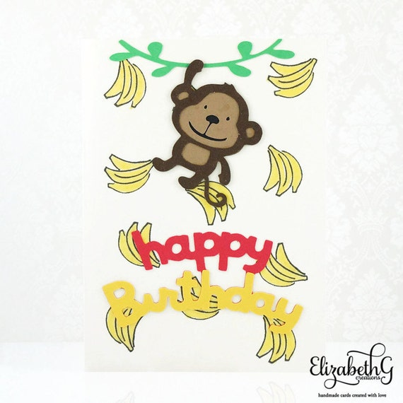 birthday card kids birthday card happy birthday card monkey etsy