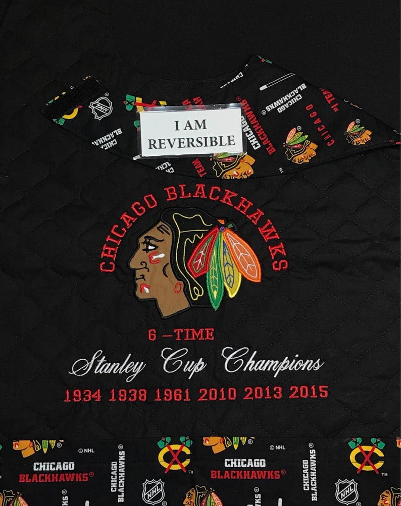 outlet store 0345c b0297 REVERSIBLE, Chicago BLACKHAWKS Stanley Cup Edition, Adult  Bib/Apron/Clothing Protector; Handmade, Embroidered, Fun, Functional Attire