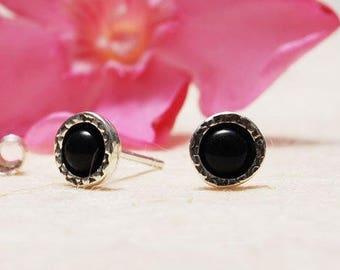 Black Stud Earrings, Sterling Silver stud earrings, Onyx stud earrings, Small round stud earrings, Casual earrings, Everyday earrings