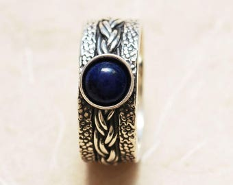 Lapis Lazuli Ring, Wide band ring, Wide Silver ring, Unique gemstone ring, Everyday ring, Unique silver ring, Meaningful ring, Mothers Ring