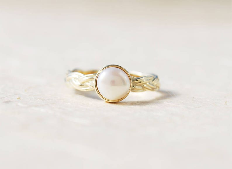 Unique Engagement Ring Pearl Engagement Ring Personalized Ring June Birthstone Ring Braided Gold Ring 14K Gold Engagement Ring