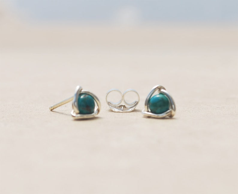 a73132a47 Natural Turquoise Stud Earrings Turquoise Gemstone Earrings   Etsy