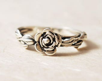 Promise Ring For Her, Flower Ring, Rose Ring, Leaf Ring, Unique Engagement Ring, Nature Inspired Ring, Rose Promise Ring, Unique Flower Ring