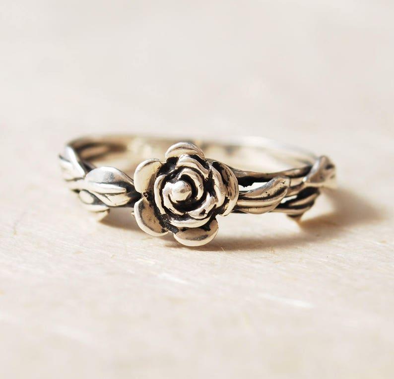 Promise Ring For Her Flower Ring Rose Ring Leaf Ring image 0