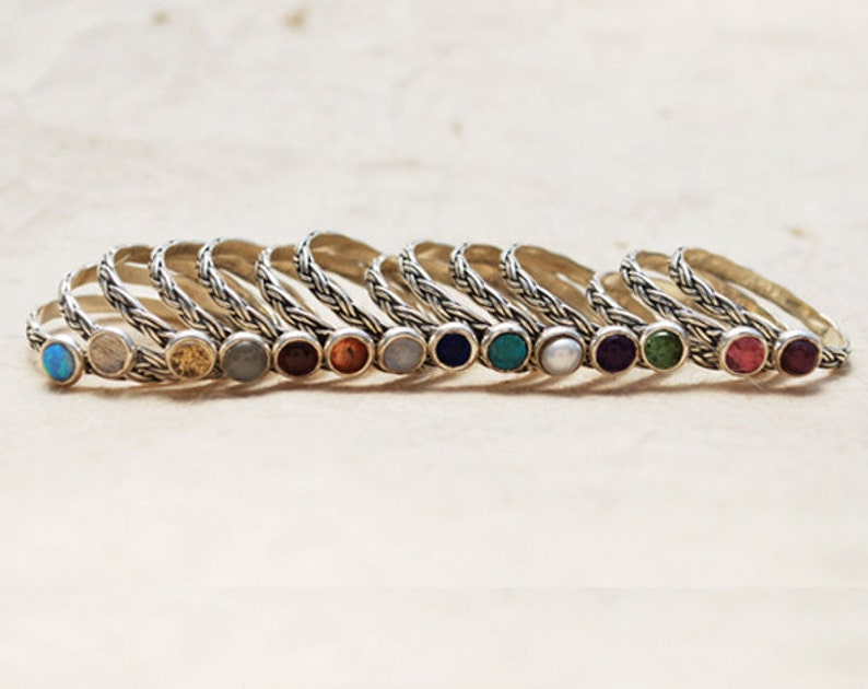 Sterling Silver Stacking Rings 5 Birthstone Stacking Rings Birthstone Stack Ring Stack Rings Set Of 5 Birthstone Rings Stackable Rings