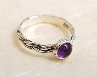 Ring set with Amethyst, Unique Amethyst Ring, February birthstone ring, Personalized birthstone ring, Sterling Silver ring, Everyday Ring