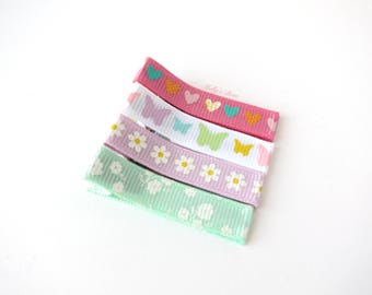 Sweet Spring Hair Clips - Fully Lined Alligator Clips - Baby Girl Hair Clip - Fine Hair Clips - Set of 4