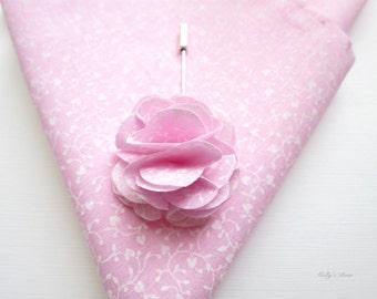 Hand Stitched Hem Cotton Pocket Square Ditsy Floral Magenta White