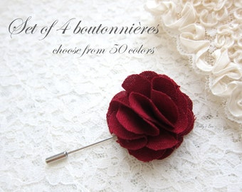 2a1e03573 Set of 4 Wedding Boutonnieres - Groomsmen Flowers - Mens Lapel Flowers -  Suit Pins - Mens Accessories