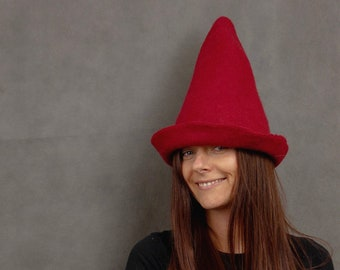 0cab8128b6b3e Gnome Hat. Christmas Elf Hat for Adults. Hand Felted Pointy Hat.