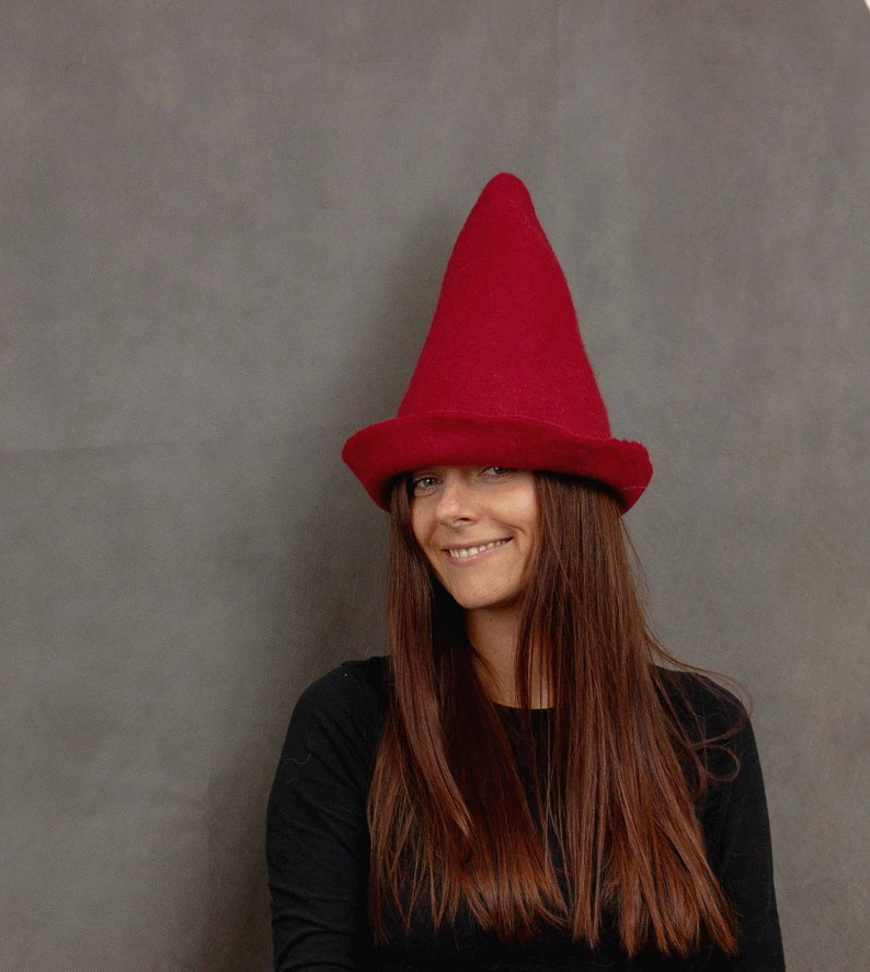 2bd15d8876c Gnome Hat. Christmas Elf Hat for Adults. Hand Felted Pointy