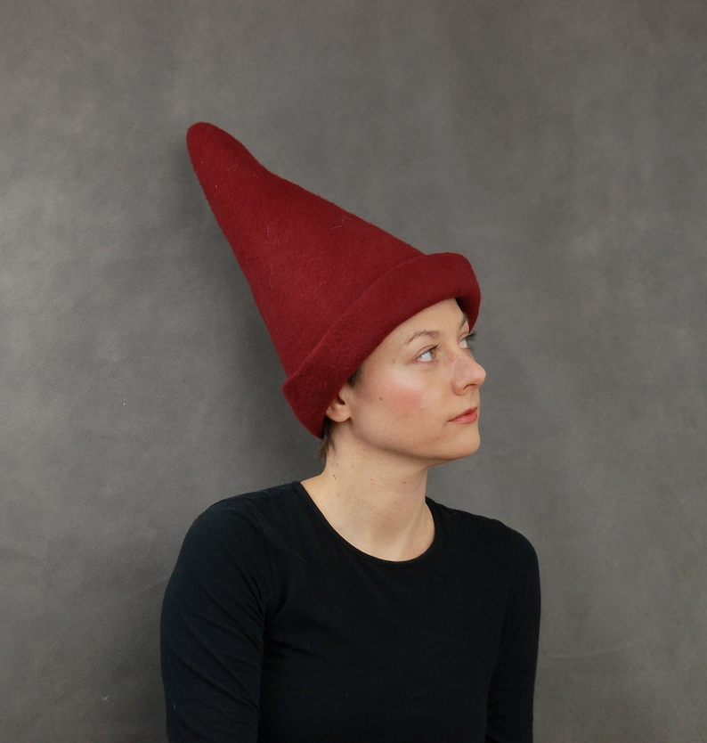 7337b77e9b4a9 Red Elf Hat. Felted Pointy Hat. Fantasy Costume Hat for Adults