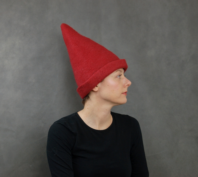 30ea89755ae Red Elf Hat. Red Gnome Hat. Adults Costume Hat. Hand Felted