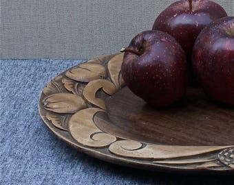 vintage French platter, hand carved wood platter, fruit platter, serving tray, made in France, mid 1940's vintage home, great gift idea