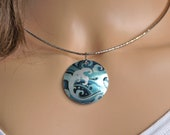 Ocean pendant, necklace with teal waves and surf. Chain or choker. Unusual handmade jewellery gifts. PL594