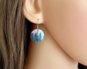 Fern disc earrings, forest woodland dangle drop with sterling silver ear wires. (62)