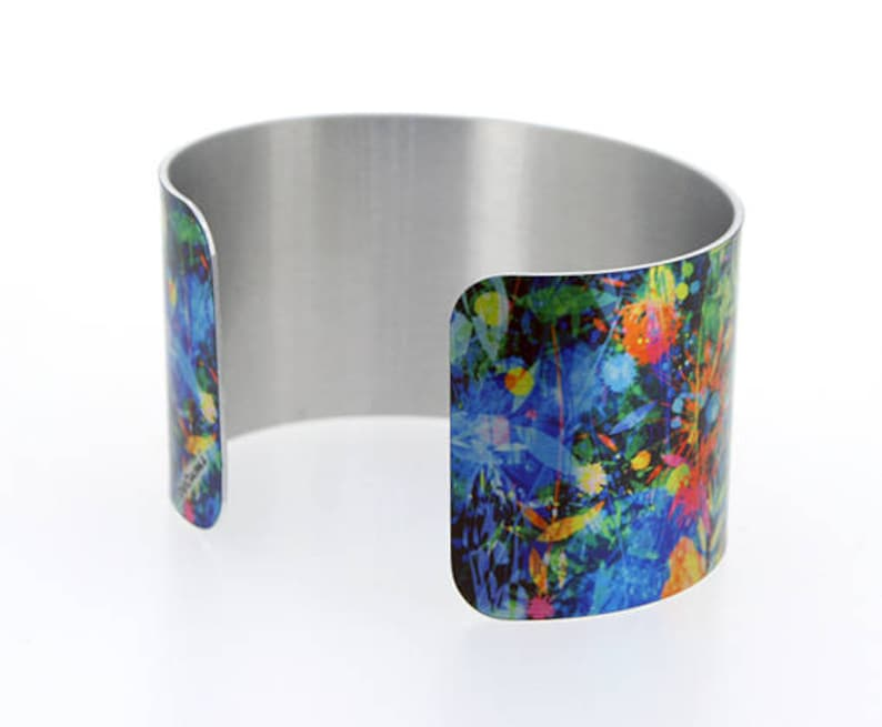contemporary artistic jewellery Statement cuff bracelet C504 wide metal bangle with abstract flowers personalised gift for her
