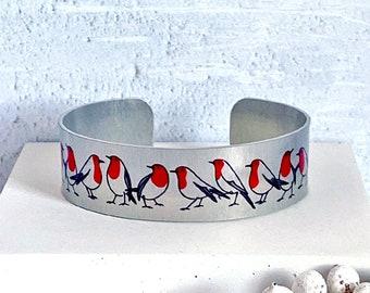 Robin cuff bracelet, handmade bird bangle with red Robins, jewellery gifts for women. (72)