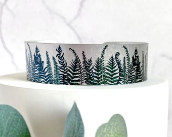Fern cuff bracelet, handmade metal bangle with forest woodland plants. (62)