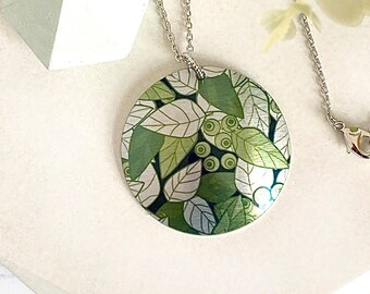 Nature necklace, 32mm disc pendant with olive sage green leaves. Artistic handmade jewellery gifts. (356)