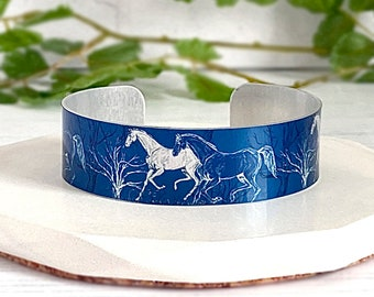 Horse cuff bracelet, personalised equestrian metal bangle, jewellery gifts for women. (383)