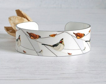 Bird jewellery cuff bracelet. Grey and white metal bangle with birds on branches. Personalised gifts. (166)