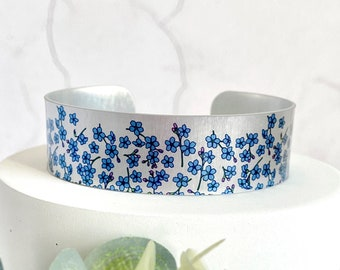 Forget Me Not Cuff bracelet, blue silver metal floral bangle, Personalised jewellery for her. (114)