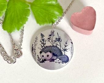 Hedgehog pendant, 25mm disc necklace, artistic handmade jewellery with hedgehogs. (475)