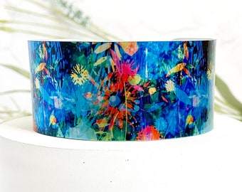 Abstract floral cuff bracelet, wide metal bangle, personalised jewellery (504)