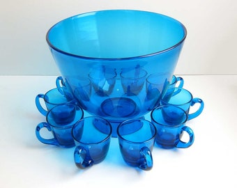 Vintage Hand Blown Turquoise Blue Art Glass Punch Bowl Set with 10 Punch Cups