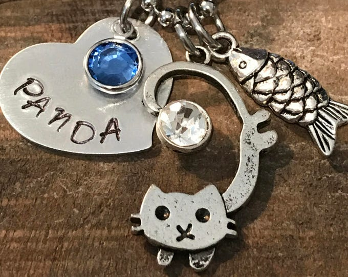 Rainbow Bridge Memorial Jewelry cat loss necklace personalized with name & birthstone
