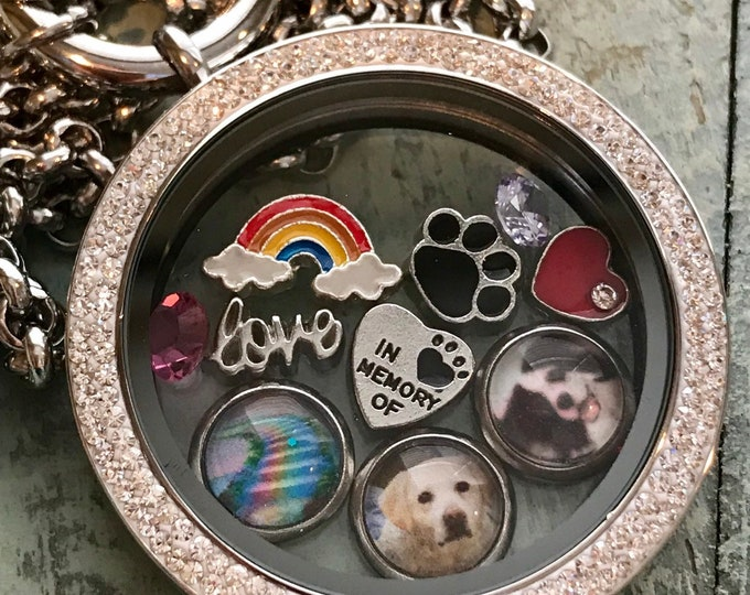 Rainbow bridge floating picture charm locket with charms ~ multiple pictures /pets
