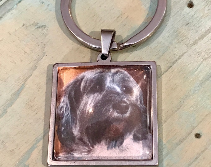 Stainless steel square picture charm keychain memorial
