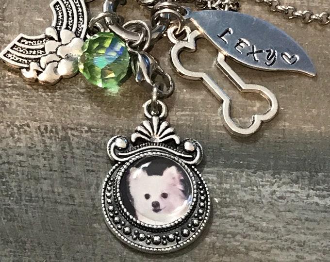 Pet loss~ rainbow bridge pet memorial photo charm necklace