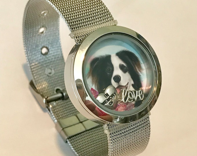 Rainbow bridge stainless locket bracelet with floating charms & picture of your pet - pet memorial