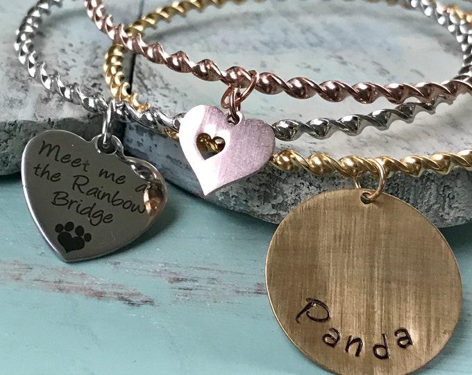 Rainbow bridge pet memorial trim color stainless bangle twisted rope bracelet set