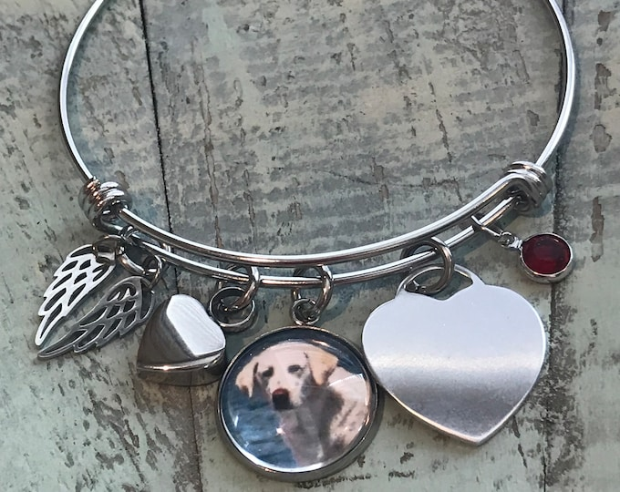 Pet loss rainbow bridge memorial bracelet with heart urn Tiffany style heart name charm, birthstone, angel wings, picture of pet