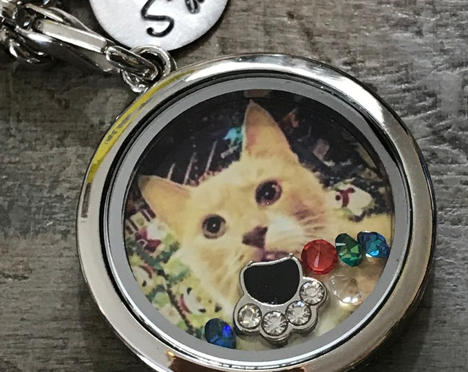 Cat memorial locket- Rainbow bridge- pet loss -pet gift