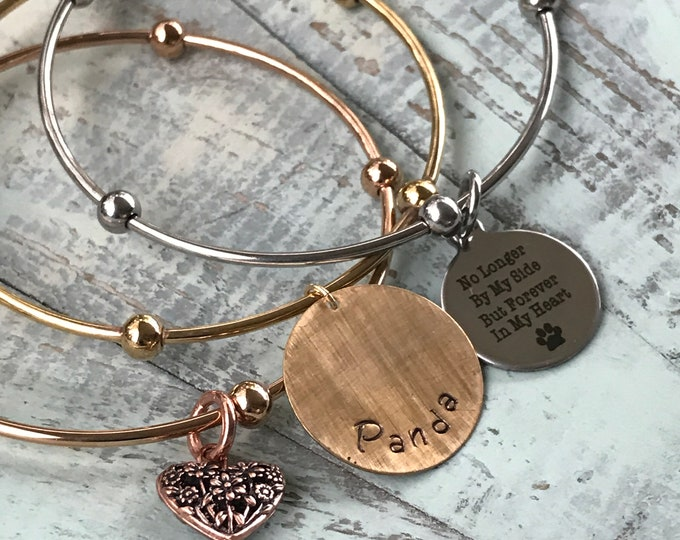 Rainbow bridge pet memorial bangle tri color stainless steel set with charms
