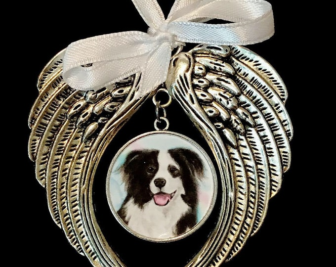 Rainbow bridge angel wing picture pet memorial Ornament