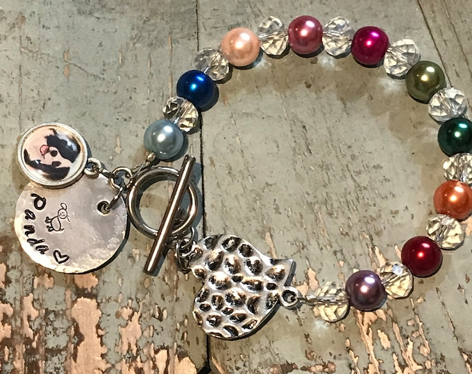 Rainbow bridge pet memorial bracelet with picture & name charm - pearls - crystal - stainless steel