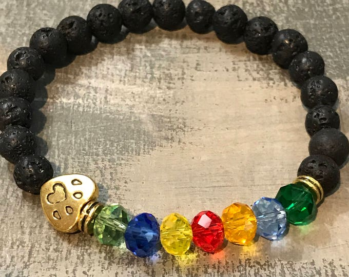 Rainbow bridge pet remembrance bracelet- lava rock & crystals, paw print