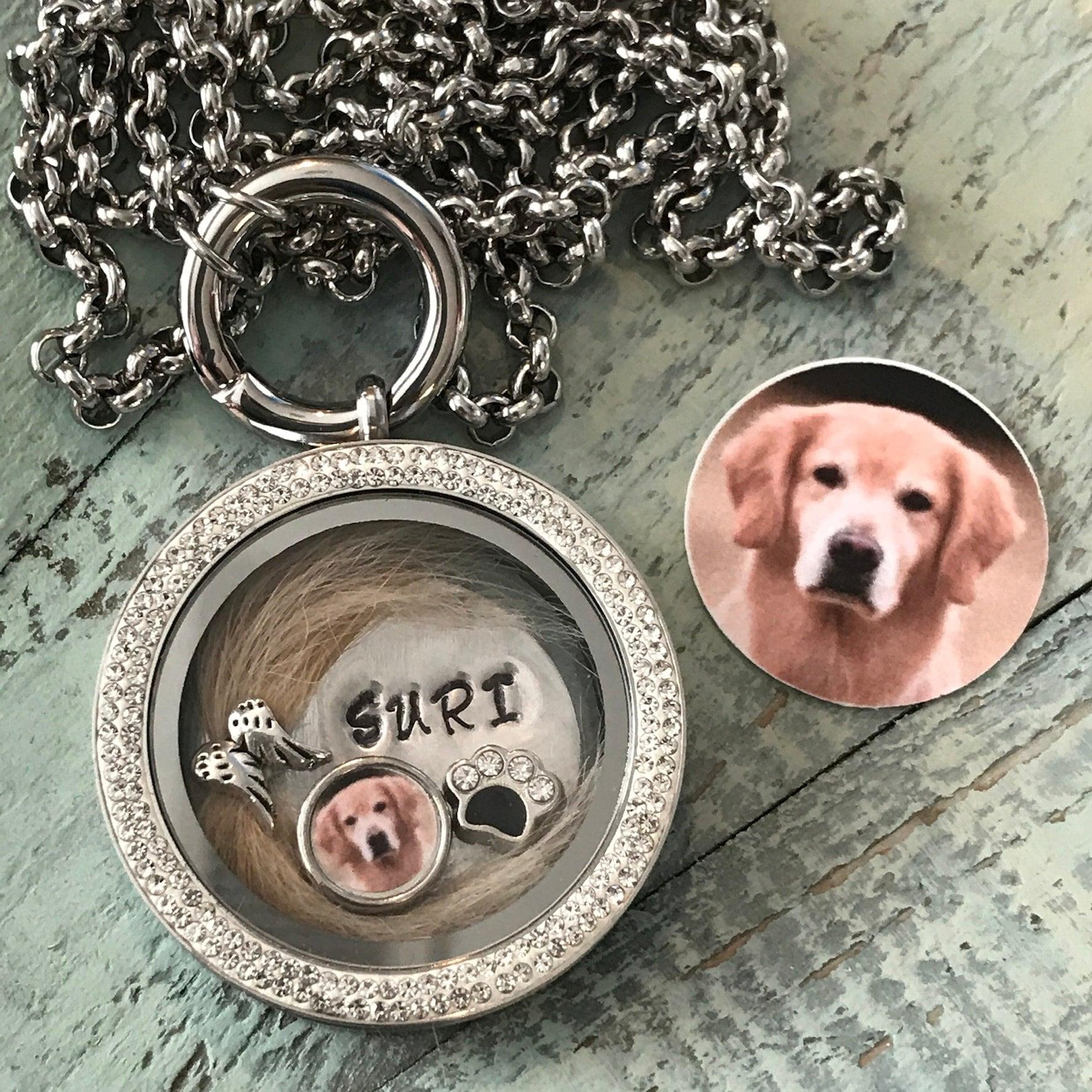 Pet Memorial gift God Bless You Necklace Glass Heart Locket Fur Photos Pet Keepsake Vintage Lock of Fur Necklace Pet Loss Necklace