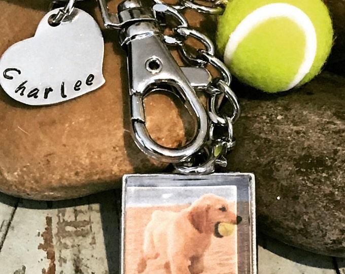 Dog ball lover memorial keychain- pet loss gift