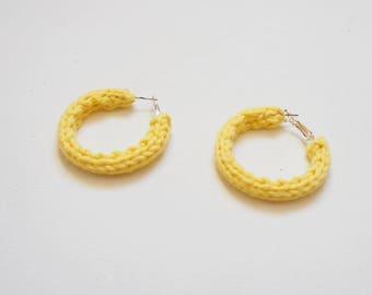 Yellow Knitted Hoop Earrings 4cm
