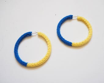 Blue and Yellow Knitted Hoop Earrings 8cm