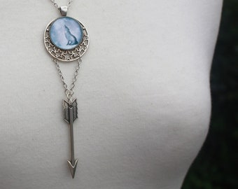 Wolf Moon Necklace, Artemis, Moon Goddess, Witchy Jewellery